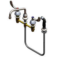T&S B-2347-02-WH4CR Easy Install Deck Mount Faucet with 8 inch Centers, 8 inch Swing Nozzle, 4 inch Wrist Action Handles, Cerama Cartridges, and Sidespray