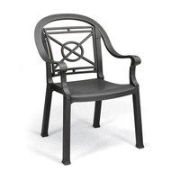 Grosfillex Victoria Classic Stacking Resin Armchair - Charcoal
