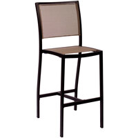 BFM Seating PH102BTPBL Delray Outdoor / Indoor Black Aluminum Bar Height Side Chair with Taupe Batyline Seat and Back