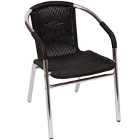 BFM Seating MS21CBL Madrid Outdoor / Indoor Stackable Black Synthetic Wicker and Aluminum Arm Chair