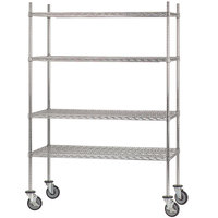 Advance Tabco MC-1836P Chrome Plated Mobile Wire Shelving Unit with Poly Swivel Casters - 18 inch x 36 inch