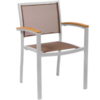 BFM Seating PH101CTPSV Delray Outdoor / Indoor Silver Aluminum Arm Chair with Taupe Batyline Seat and Back