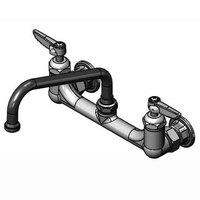 T&S B-2414-CR-SC Wall Mount Mixing Faucet with 8 inch Adjustable Centers, 8 inch Swing Nozzle, Spring Checks, and Cerama Cartridges
