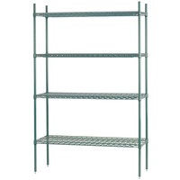 Advance Tabco EGG-1442 14 inch x 42 inch x 74 inch NSF Green Epoxy Coated Wire Shelving Combo