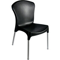 BFM Seating SA21523BL Lola Outdoor / Indoor Stackable Resin Side Chair - Black
