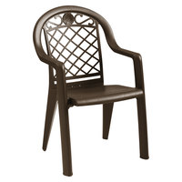 Grosfillex US103137 / US413137 Savannah Bronze Mist Highback Stacking Resin Armchair