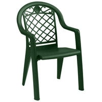 Grosfillex Savannah Highback Stacking Resin Armchair - Metal Green