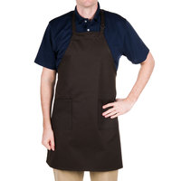 Choice Brown Full Length Bib Apron with Adjustable Neck with Pockets - 32 inchL x 28 inchW