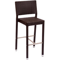 BFM Seating PH500BJV Monterey Outdoor / Indoor Java Synthetic Wicker Bar Height Chair