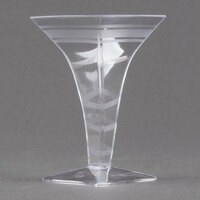 Fineline Tiny Temptations 6408-CL 2 oz. Tiny Barware Clear Plastic Square Martini Glass - 8/Pack