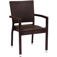 BFM Seating PH501CJV Monterey Outdoor / Indoor Stackable Java Synthetic Wicker Arm Chair