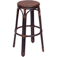 BFM Seating MS10BBBBL Marina Outdoor / Indoor Brown Synthetic Wicker Barstool