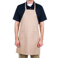 Choice Khaki / Beige Full Length Bib Apron with Adjustable Neck with Pockets - 32 inchL x 28 inchW