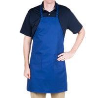 """Choice Royal Blue Full Length Bib Apron with Adjustable Neck with Pockets - 32""""L x 28""""W"""