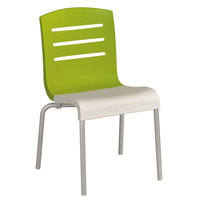 Grosfillex US041152 Domino Indoor Stacking Resin Chair with Fern Green Back and White Seat - 4 / Pack