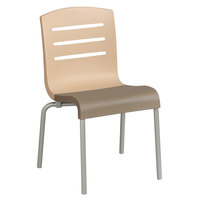 Grosfillex US041413 Domino Indoor Stacking Resin Chair with Beige Back and Taupe Seat - 4 / Pack