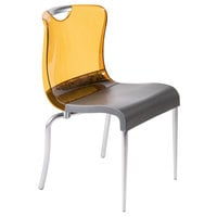 Grosfillex US302447 Krystal Amber Resin Indoor Stacking Chair - 4/Pack