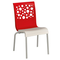 Grosfillex US021414 Tempo Indoor Stacking Resin Chair with Red Back and White Seat - 4/Pack