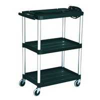 Rubbermaid FG9T3000BLA Black MediaMaster 32 inch Open AV Cart with Three Shelves and 4 inch Casters