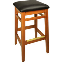 BFM Seating LWB680HOBLV Trevor Honey Oak Wood Barstool with 2 inch Black Vinyl Seat