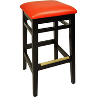 BFM Seating LWB680BLRDV Trevor Black Wood Barstool with 2 inch Red Vinyl Seat