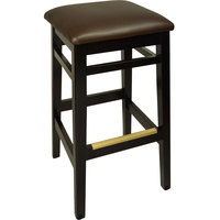 BFM Seating LWB680BLDBV Trevor Black Wood Barstool with 2 inch Dark Brown Vinyl Seat