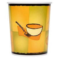 Huhtamaki Chinet 70432 32 oz. Double-Wall Poly Paper Soup / Hot Food Cup with Plastic Lid and Streetside Design - 250 / Case