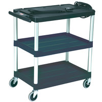 Rubbermaid FG9T2800BLA Black MediaMaster 32 inch Open AV Cart with Three Shelves and 3 inch Casters