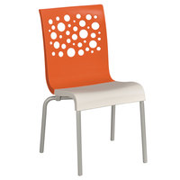 Grosfillex US021019 Tempo Indoor Stacking Resin Chair with Orange Back and White Seat - 4 / Pack