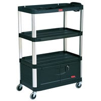 Rubbermaid FG9T3500BLA Black MediaMaster 36 inch AV Cart with Four Shelves, Cabinet, and 4 inch Casters