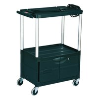 Rubbermaid FG9T3200BLA Black MediaMaster 32 inch AV Cart with Three Shelves, Cabinet, and 4 inch Casters