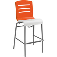 Grosfillex Domino Indoor Stacking Resin Barstool with Orange Back and White Seat