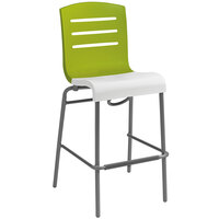 Grosfillex Domino Indoor Stacking Resin Barstool with Fern Green Back and White Seat