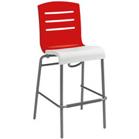 Grosfillex Domino Indoor Stacking Resin Barstool with Red Back and White Seat
