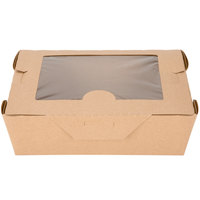 Bio-Plus View 03BPVWERTM 8 inch x 6 inch x 2 1/2 inch Kraft Microwavable Paper #3 Take-Out Container - 40 / Pack
