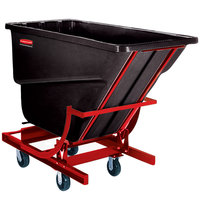 Rubbermaid FG105443BLA Black 0.5 Cubic Yard Self Dumping Hopper with 6 inch Casters (750 lb.)
