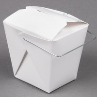 Fold-Pak 08WHWHITEM 8 oz. White Chinese / Asian Paper Take-Out Container with Wire Handle - 100 / Pack