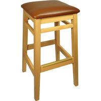 BFM Seating LWB680NTLBV Trevor Natural Wood Barstool with 2 inch Light Brown Vinyl Seat