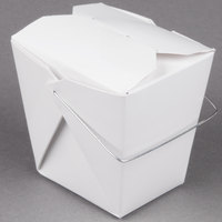 Fold-Pak 16WHWHITEM 16 oz. White Chinese / Asian Paper Take-Out Container with Wire Handle - 100 / Pack
