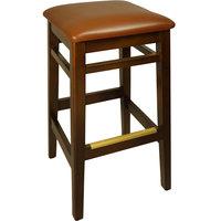BFM Seating LWB680WALBV Trevor Walnut Wood Barstool with 2 inch Light Brown Vinyl Seat