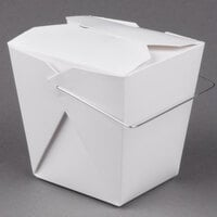 Fold-Pak 26WHWHITEM 26 oz. White Chinese / Asian Take Out Container with Wire Handle 100 / Pack