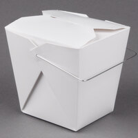 Fold-Pak 26WHWHITEM 26 oz. White Chinese / Asian Paper Take-Out Container with Wire Handle - 100 / Pack