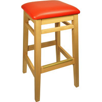 BFM Seating LWB680NTRDV Trevor Natural Wood Barstool with 2 inch Red Vinyl Seat