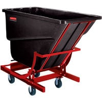 Rubbermaid FG105943BLA Black 1.0 Cubic Yard Self Dumping Hopper with 6 inch Casters (1000 lb.)