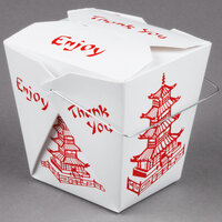 Fold-Pak 26WHPAGODM 26 oz. Pagoda Chinese / Asian Paper Take-Out Container with Wire Handle - 100 / Pack