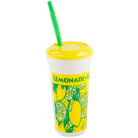 32 oz. Tall Plastic Souvenir Cold Cup with Straw and Lid - 300 / Case