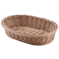 Carlisle 655125 Brown 12 inch x 8 inch Woven Oval Basket - 6 / Case