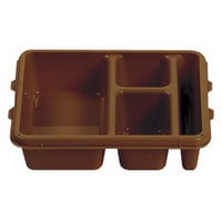 Cambro 9113CP167 9 inch x 11 inch Brown 3 Compartment Meal Delivery Tray - 24/Case