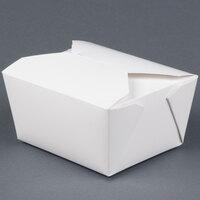 Microwavable Bio-Pak 01BPWHITEM White Paper #1 Take Out Carton 5 inch x 4 inch x 3 inch - 50 / Pack