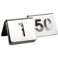 Tablecraft TC150 1 to 50 Stainless Steel Table Tent Cut-Out Number